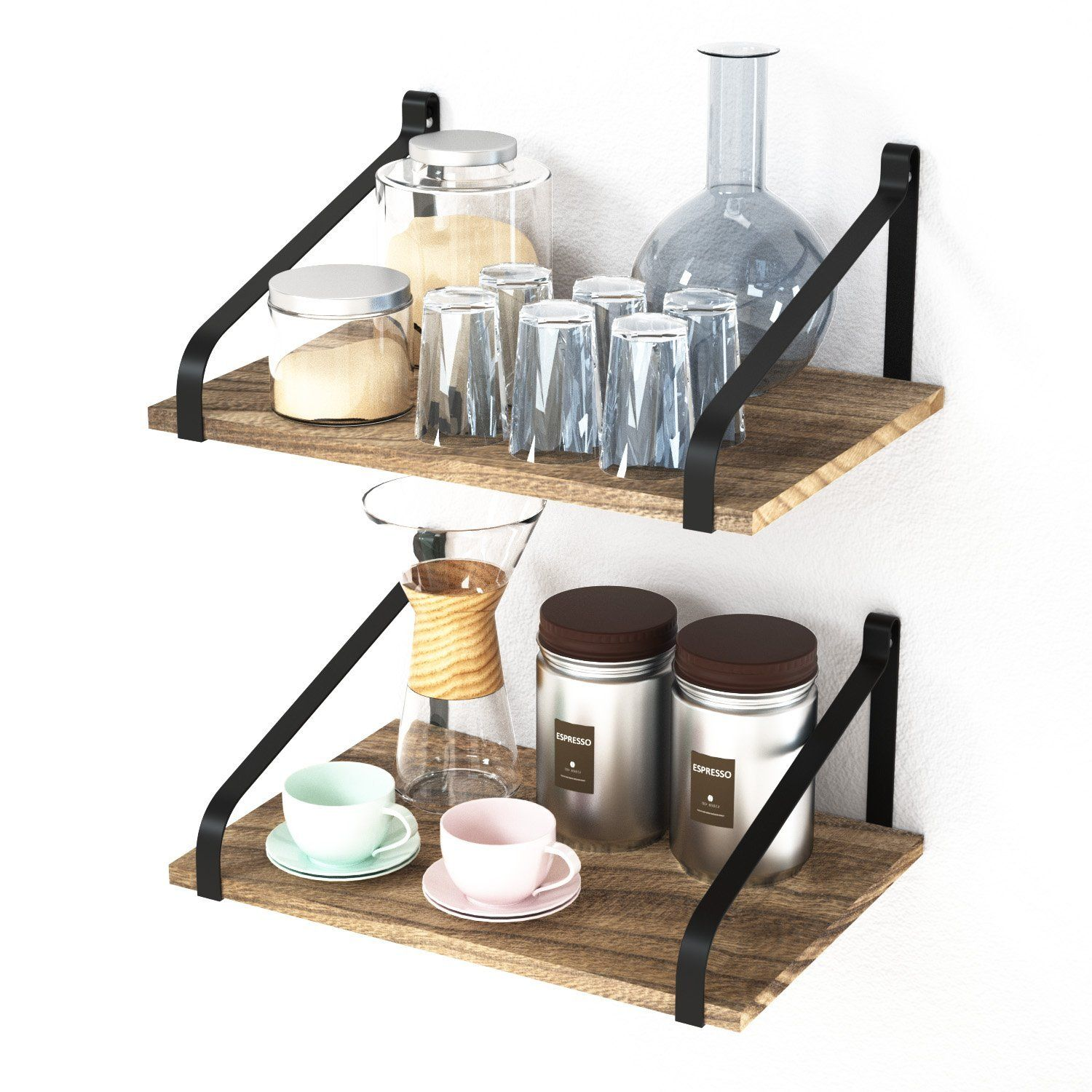 Floating Shelves Wall Mount Rustic Wood Wall Shelves With Large Storage L 16 X W 11 For Kitchen Liv Wooden Wall Shelves Wood Wall Shelf Rustic Wood Walls