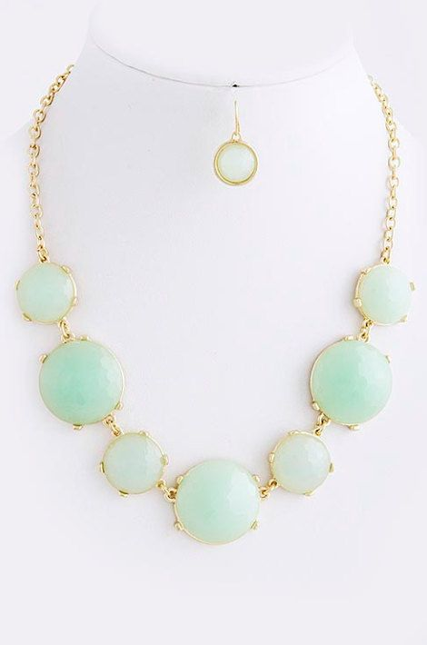 Mint Round Necklace with matching earrings - Kate Spade inspired bib necklace on Etsy, $25.00