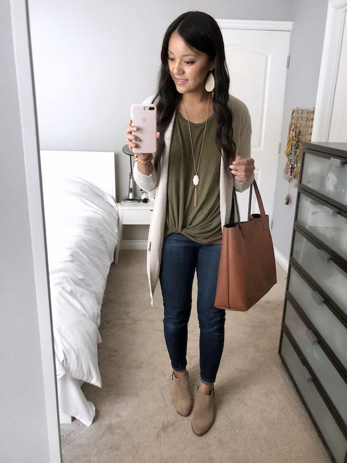 7ddcfc9853  Instagram Outfits Roundup  Tan Cardigan + Skinnies + Olive Twist Tee + Tan  Tote + Statement Necklace + Tan Booties