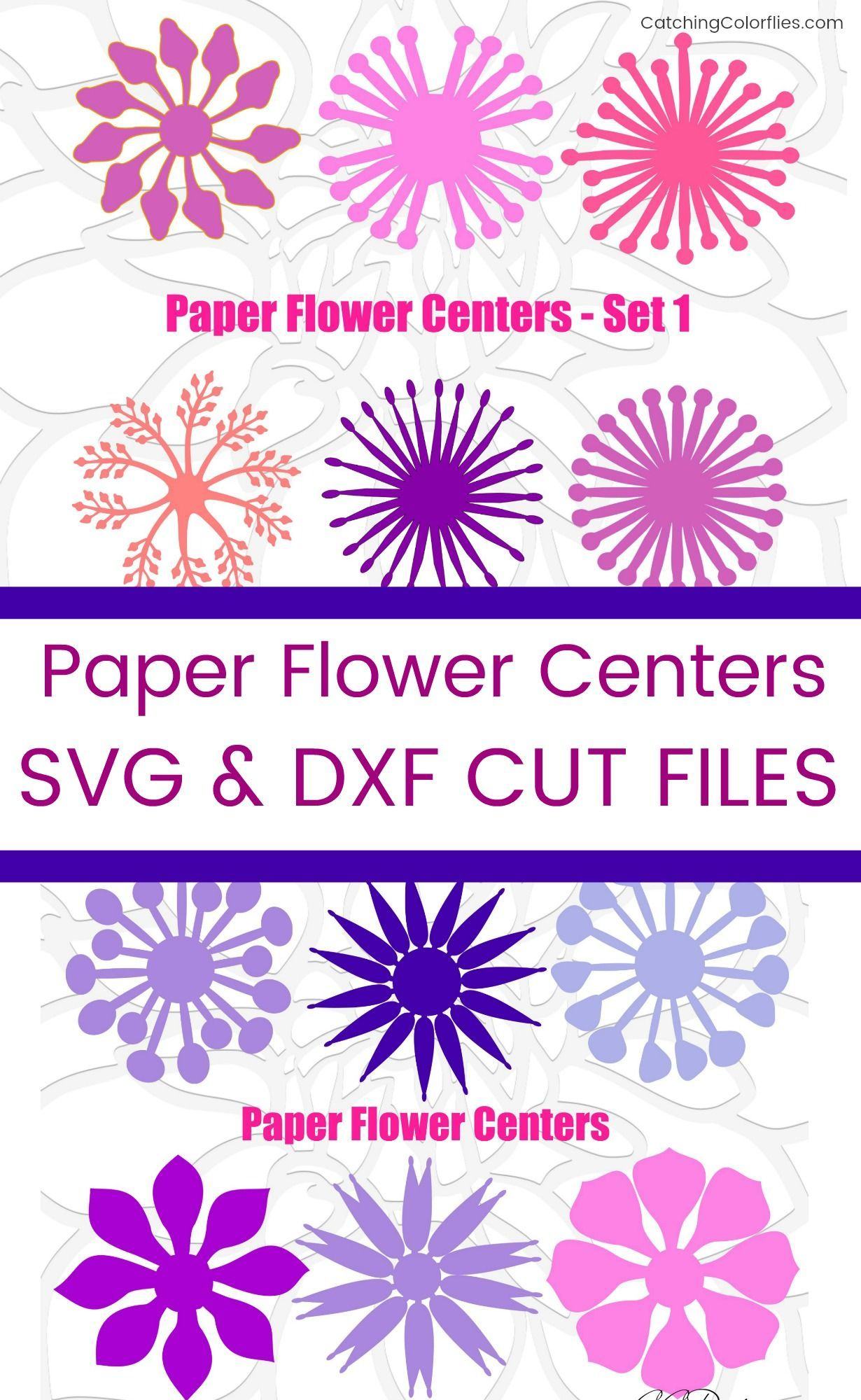 Center Templates for Paper Flowers, Flower Center SVG Template, Center Template for Giant Paper Flowers, Instant Download