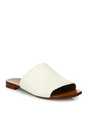 MICHAEL KORS Byrne Woven Leather Slides. #michaelkors #shoes #slides