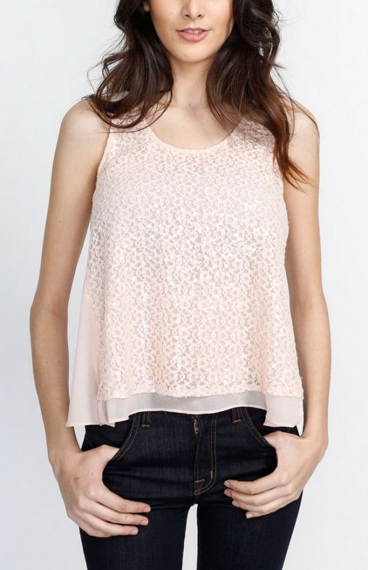 Lace and Chiffon Double Layered Pink Tank Top Taupe   sewing ideas ...