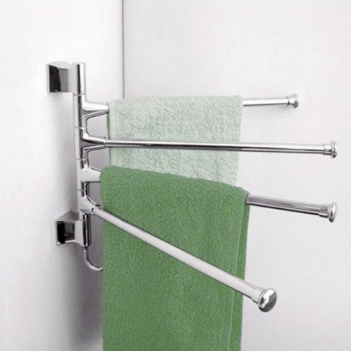 Or For A Little More Money Vktech Wall Mounted Swing 4 Arm Towel Rack Stainless Steel 19 99 Towel Rack Bathroom Diy Clothes Rack Towel