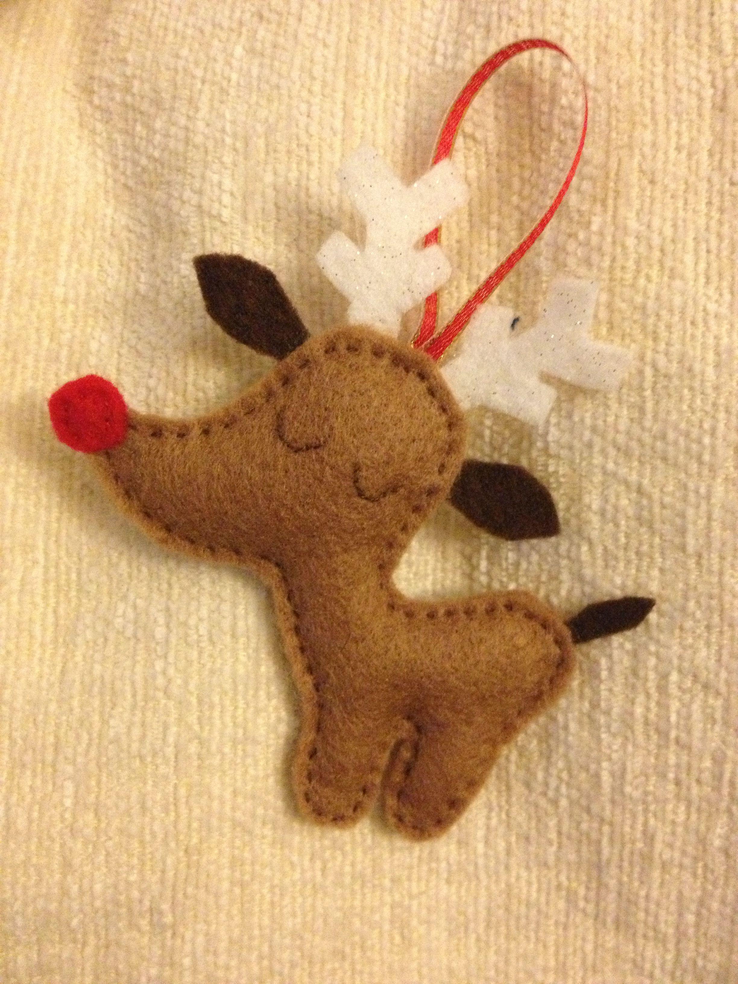 Felt reindeer glad you liked him carol