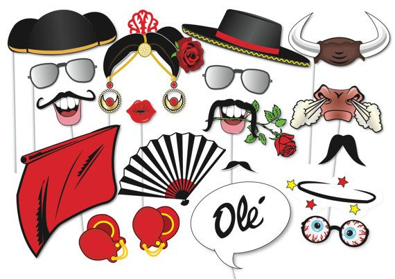Here is the ultimate collection of Flamenco photo booth props! Tons of Fun!! Great for a Spanish inspired party, for a photo booth or as a table centre piece! Contains 21 pieces: ♥ Maestro Hat ♥ 6 x Moustaches ♥ Flamenco Dancer hair ♥ Flamenco Dancer hat ♥ Ole Speech bubble ♥ Dancers