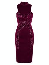 Sexy Purple Beading Sleeveless Sexy Bodycon Dress