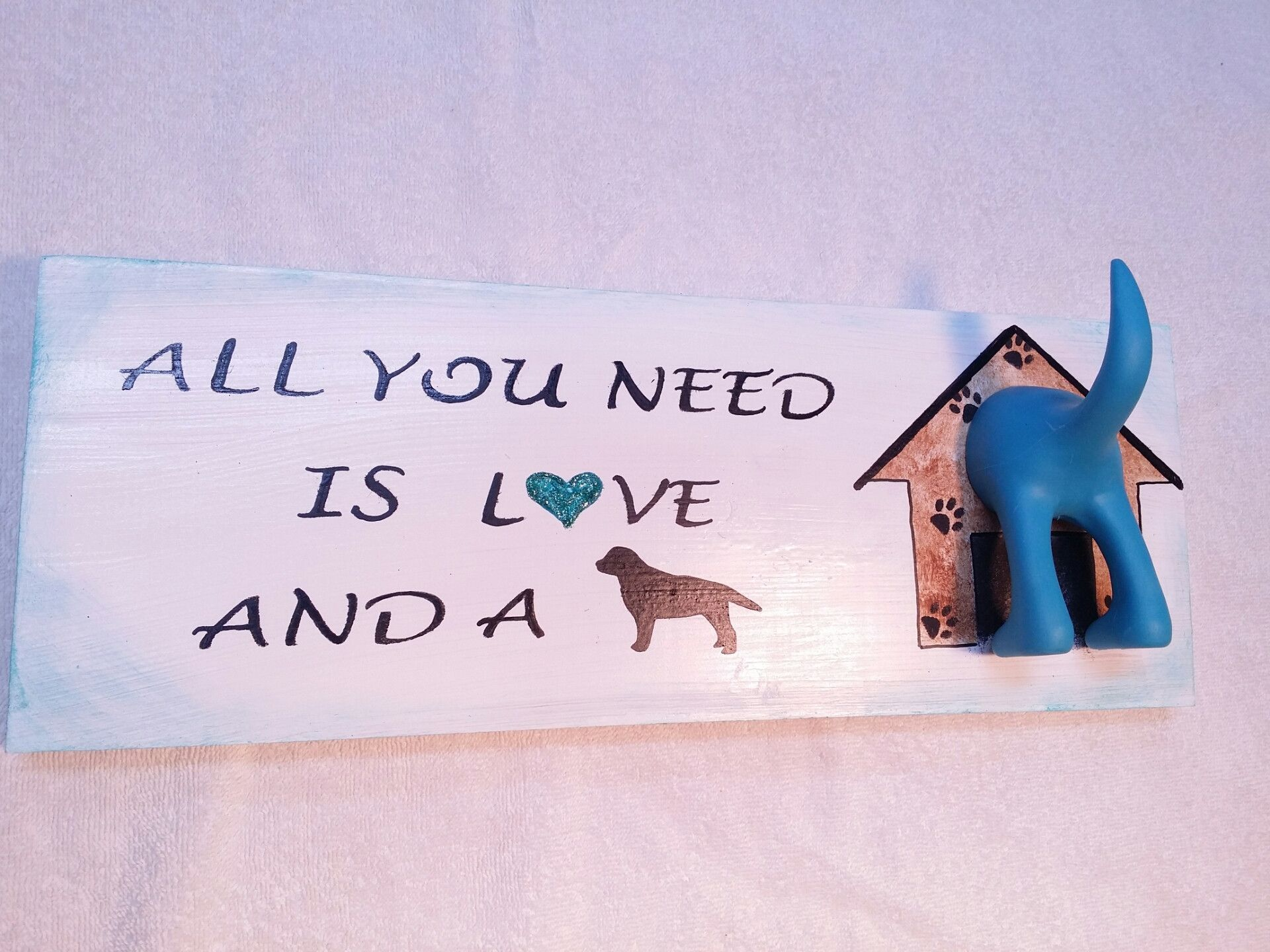 All You Need is Love and a Dog leash sign by gr8byz