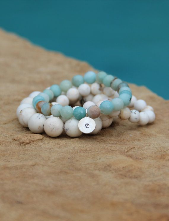 Amazonite Stretch Bracelet Silver Initial by HappyGoLuckyJewels