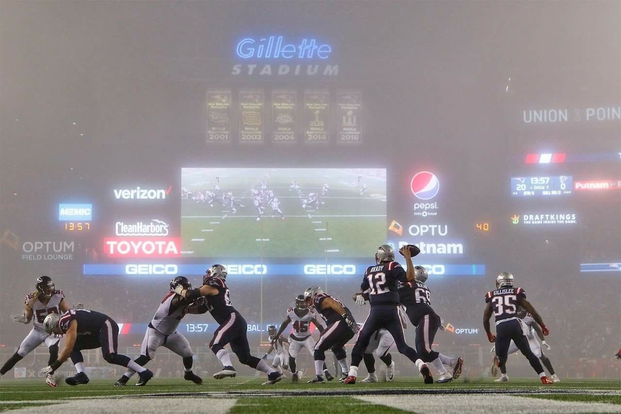 New England Patriots Vs Atlanta Falcons Foggate Pats Superbowl Li Rematch Gillette Stadium Color Ru Patriots New England Patriots Sunday Night Football