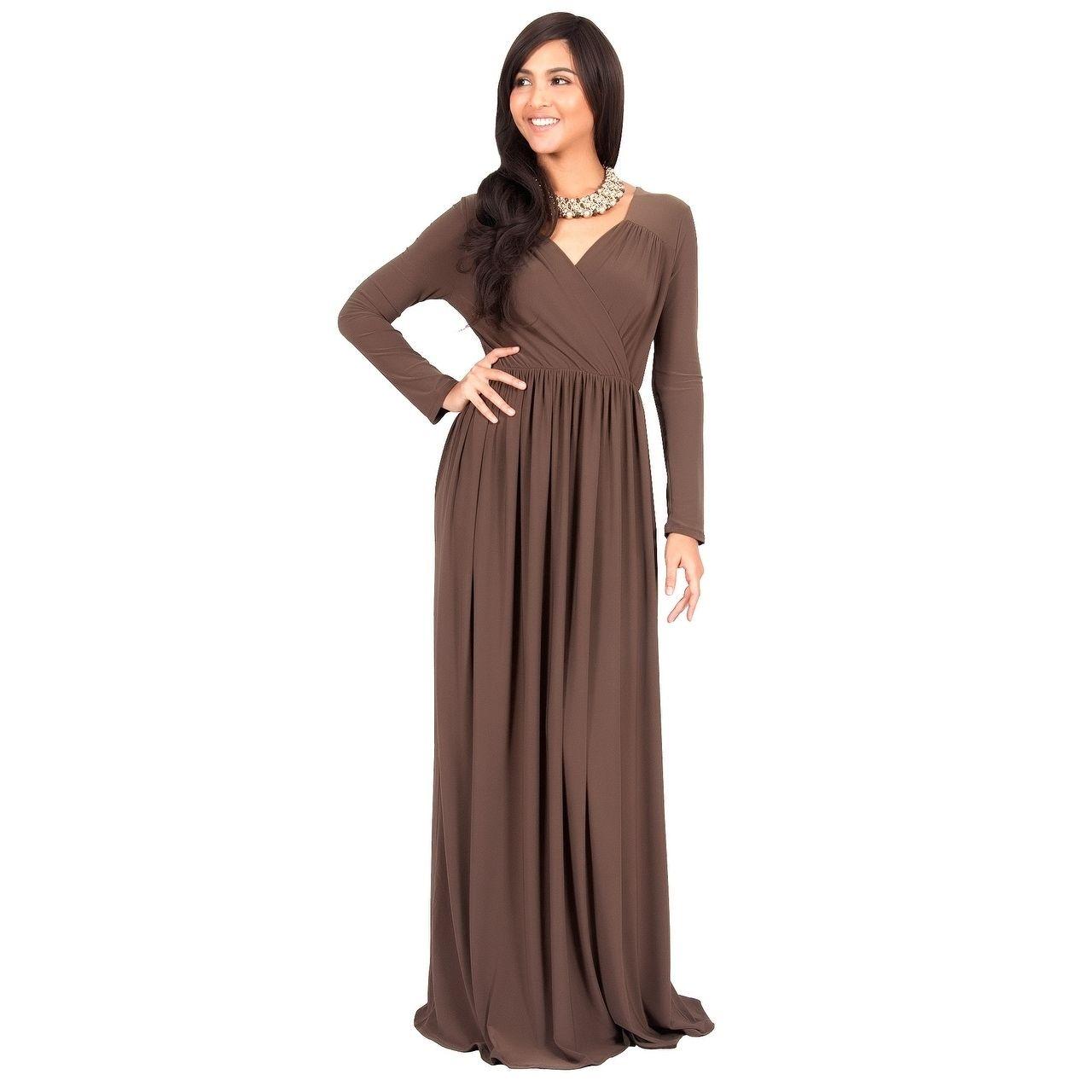 Koh koh womenus long sleeve empire waist dress white m global