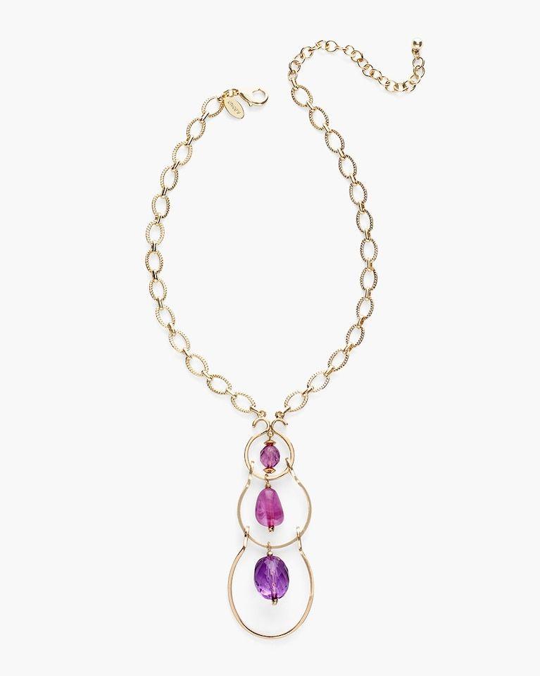Chicos short purple pendant necklace purple pendant