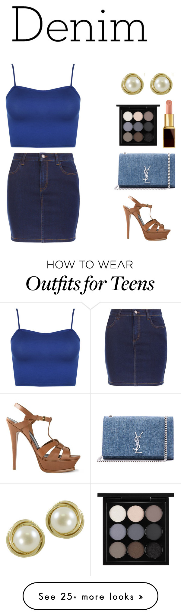 """""""Untitled #156"""" by ctpyp on Polyvore featuring WearAll, New Look, Yves Saint Laurent, Imperial, MAC Cosmetics, Tom Ford, Blue and Denimondenim"""