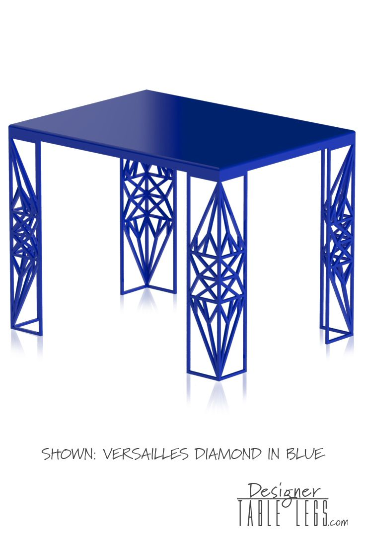 Diamond Shaped Metal Table Legs  Versailles Blue Diamond Table Legs  Reflection