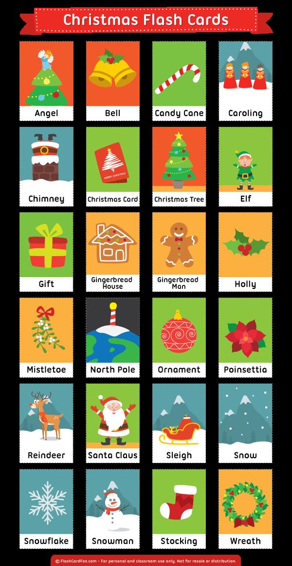 Printable Christmas Flash Cards Flashcards, English