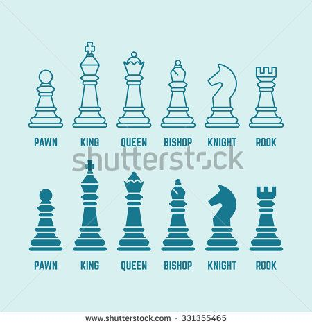 Chess Pieces With Named Set Of Vector Outline And Silhouette Icons