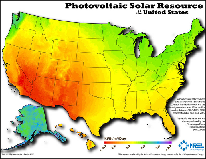 Map 1 Available Solar Power Energy In The United States Renewable Energy Solar Power Solar