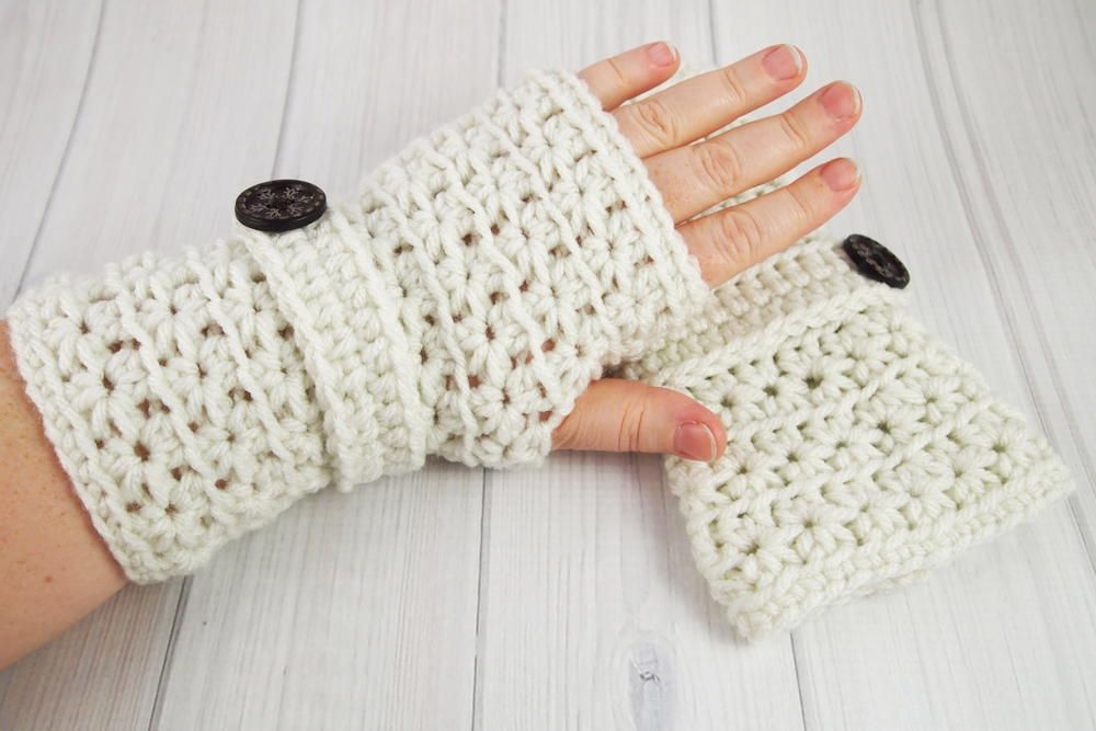 Crochet Star Stitch Fingerless Gloves | Guantes, Mitones y Guantes ...