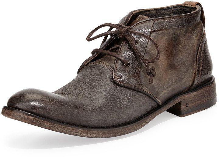 $750, John Varvatos Freeman Raw Edge Chukka Boot Dark Brown