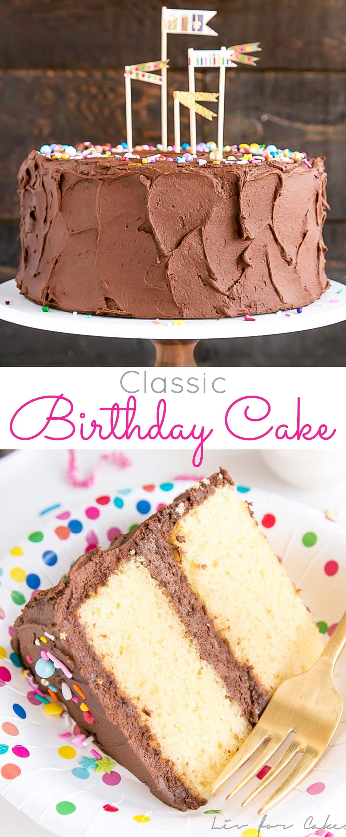 The Ultimate Birthday Cake A Classic Yellow With Rich Chocolate Frosting And Colorful Sprinkles