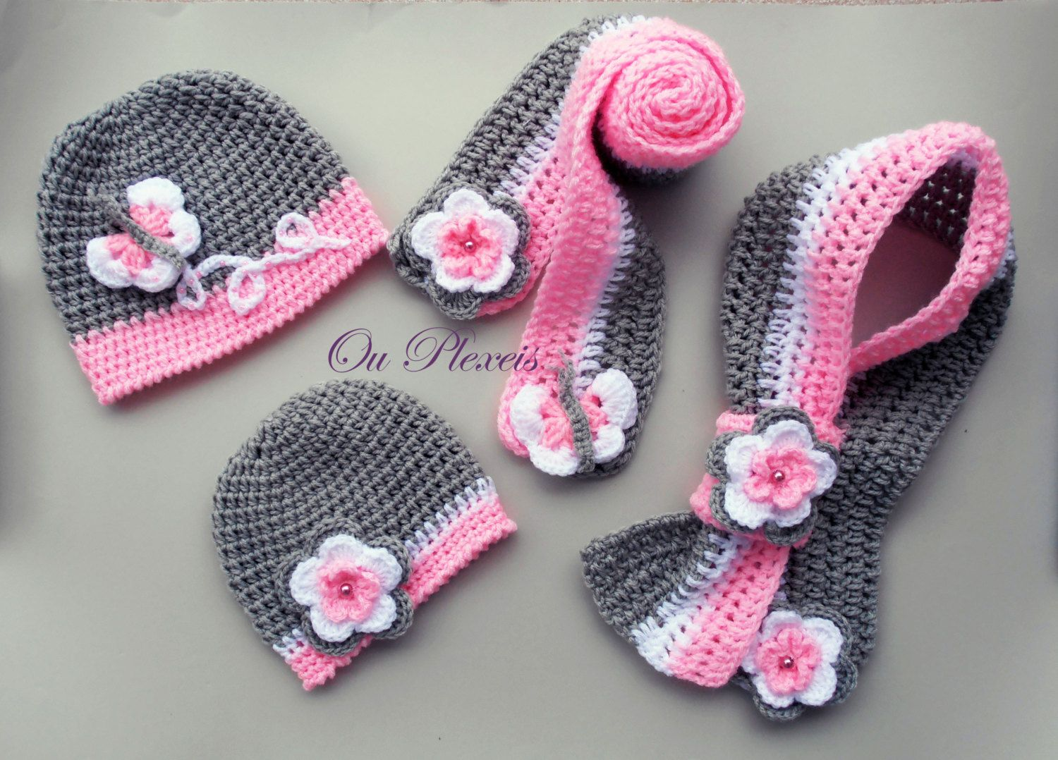 Crochet set hat and scarf, crochet baby girl hat and scarf, crochet ...