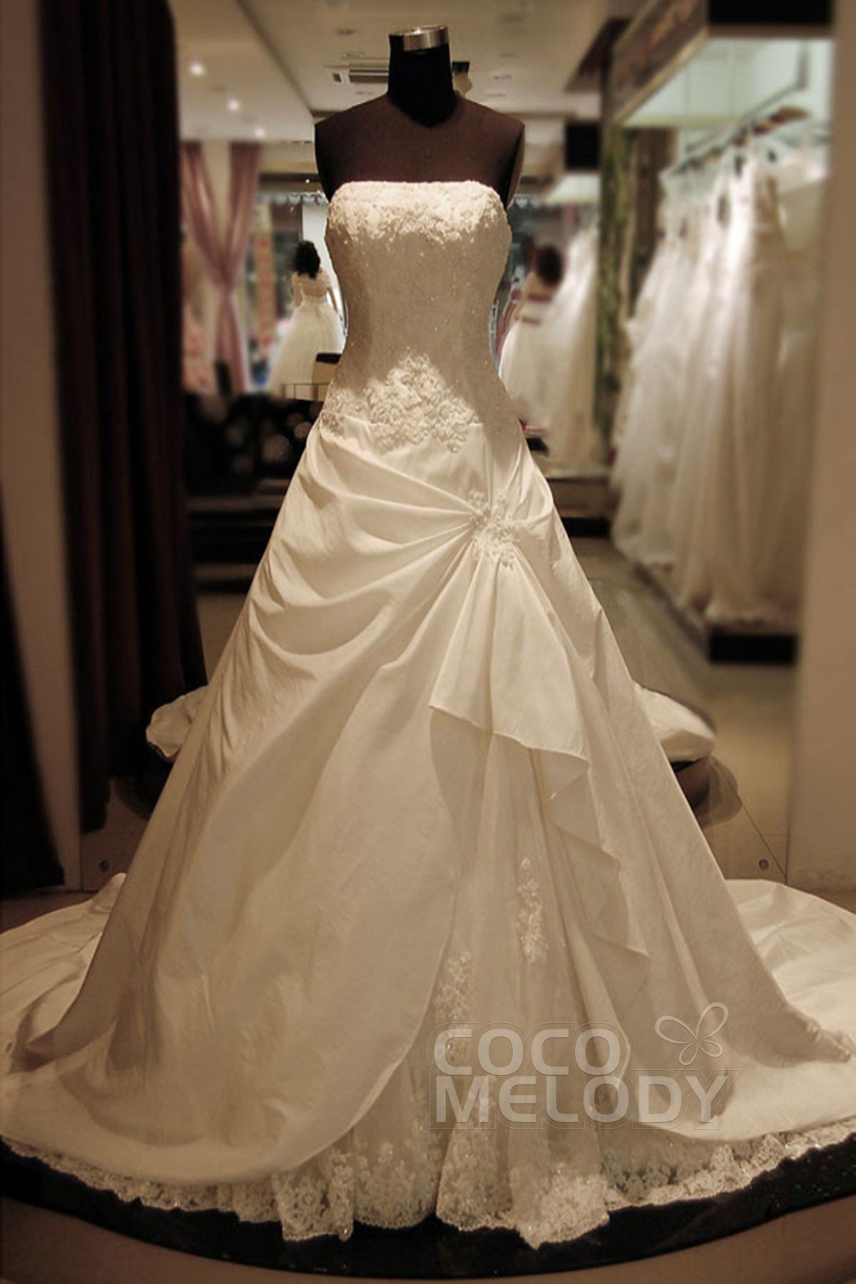 ALine Cathedral Train Taffeta and Tulle Wedding Dress