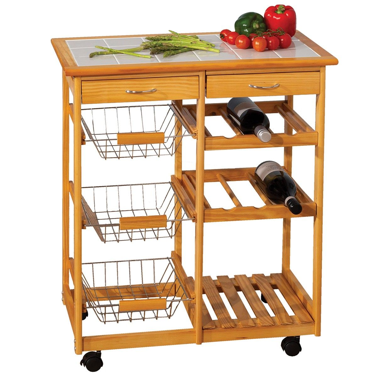Double Kitchen Trolley With Ceramic Tile Top Kitchen