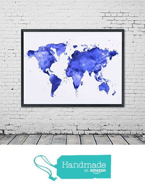 Blue watercolor world map wall art poster inspirational world map blue watercolor world map wall art poster inspirational world map art decor baby blue painting art gumiabroncs Choice Image
