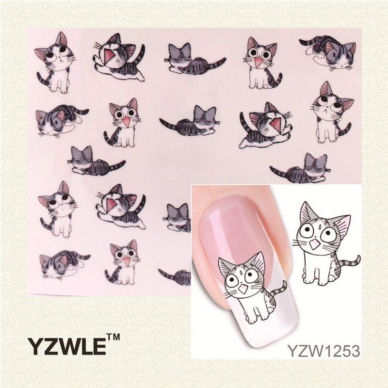 YZWLE 1 Foglio Nail Art Water Trasferimento Decalcomanie Cute Cats Nuovi Adesivi Decorazioni Filigrana Strumenti per il Polacco