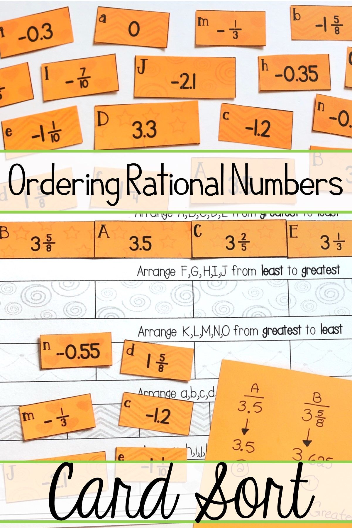 Ordering Rational Numbers Activity Positive And Negative