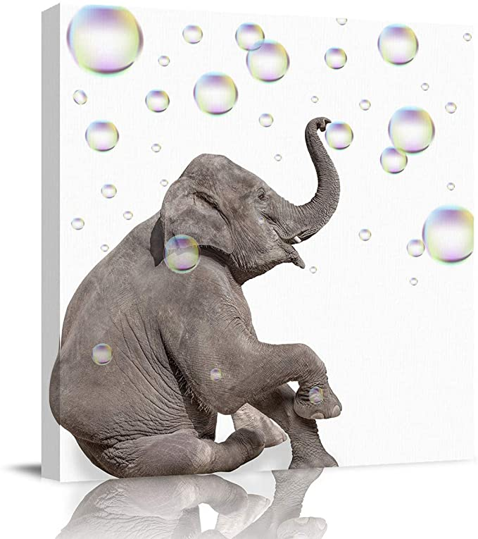 Amazon Com Greaben Modern Bathroom Wall Art Decor Canvas Print Funny Elephants Blowing Bubb In 2020 Modern Bathroom Wall Art Bathroom Wall Art Wall Decor Living Room