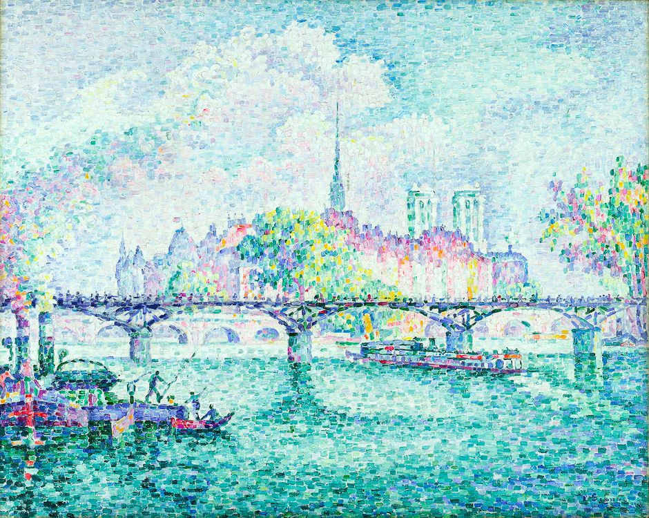 "Paul SIGNAC, 1912, ""Ile de la Cite"" ...a view of the Isle de la Cite, the Pont des Arts in the foreground, and Notre Dame in the background. French, pointillist."