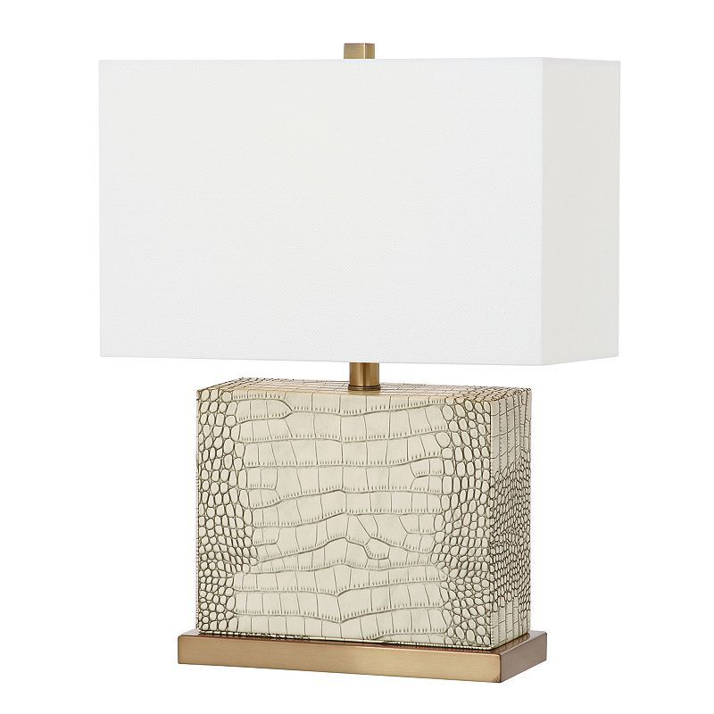 Safavieh Deliah Faux Alligator Table Lamp Lamp Table Lamp Fabric Shades