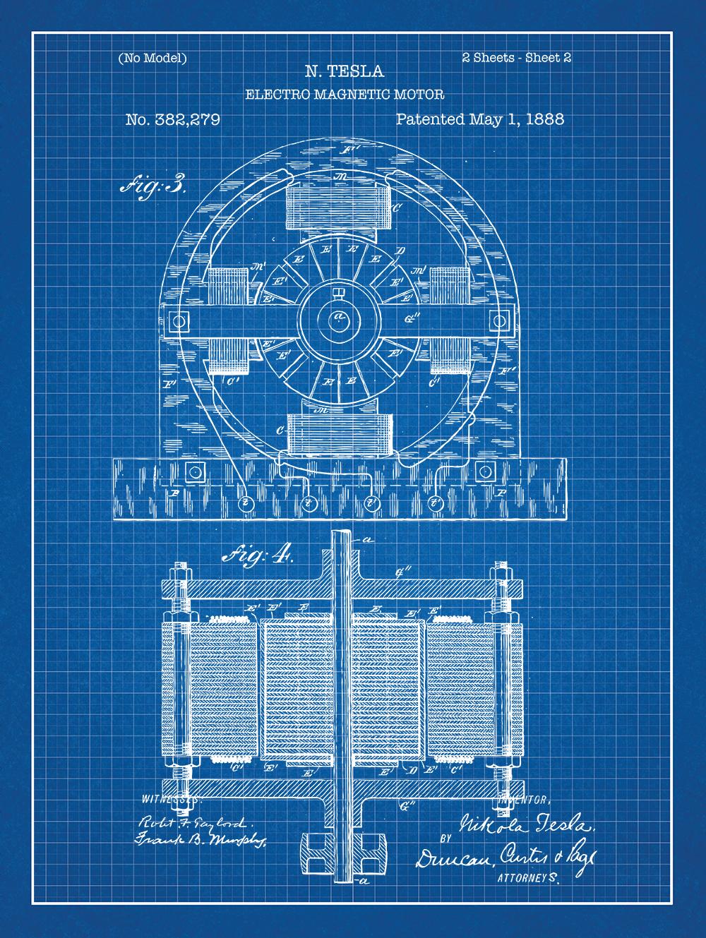 Tesla Electromagnet Motor Patent Vintage Poster Screen Print Design Diagram Pics Electro Magnet On Blue Graph Paper Background