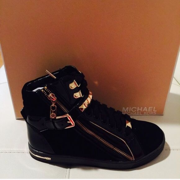 f958eab7e2ae Michael Kors high top studded sneakers Black and gold authentic sneakers