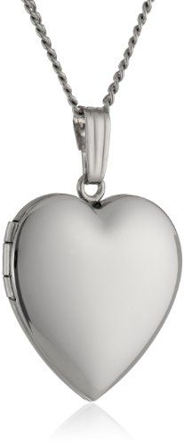 61774772452 Sterling Silver Polished Heart Locket Pendant Necklace