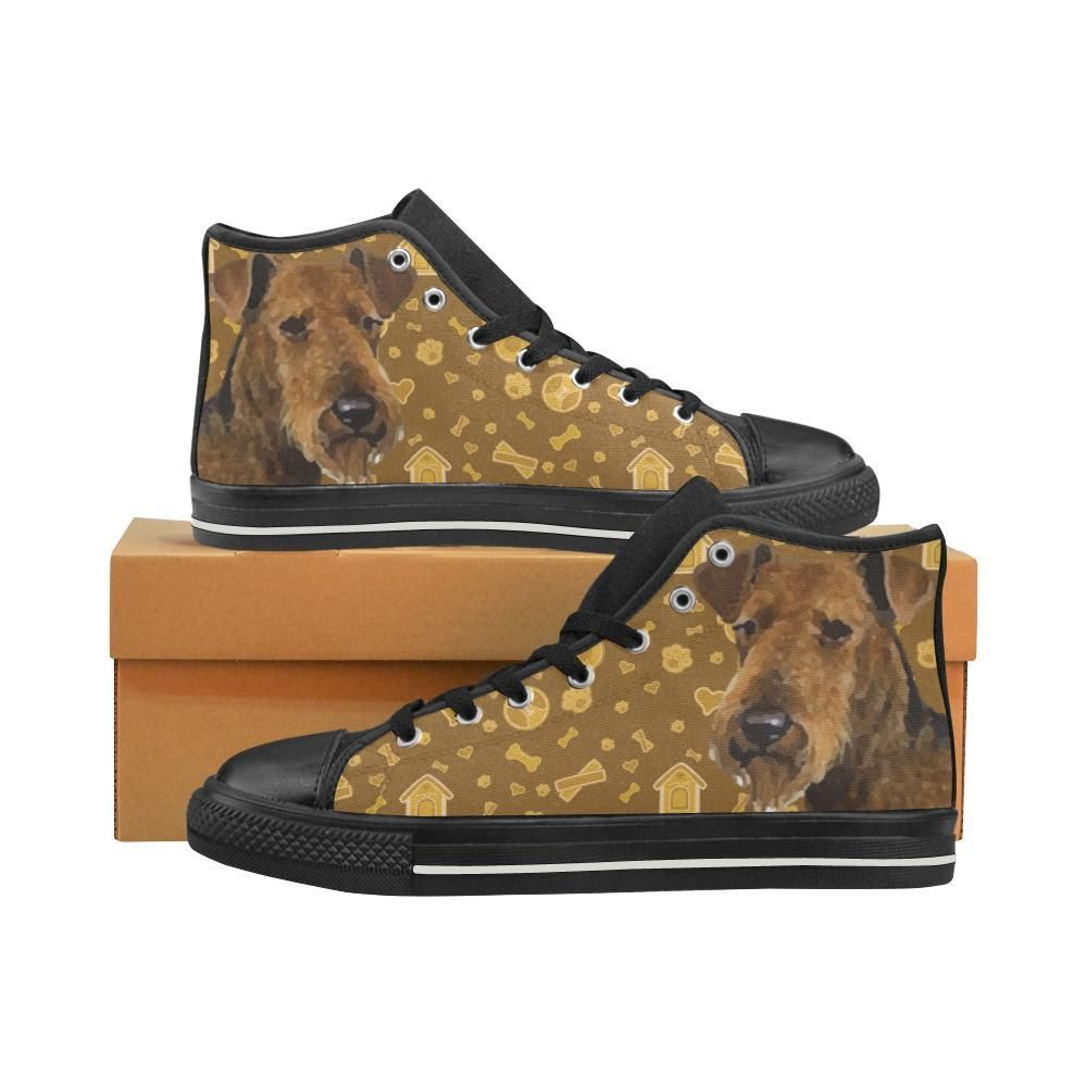 4673be059238  TeeAmazing -  e-joyer Welsh Terrier Dog Black High Top Canvas Shoes for