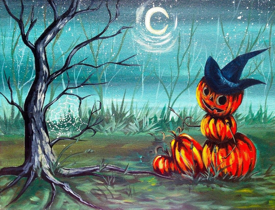 Hart Party Beginner Art Acrylic Lesson Halloween Pumpkin Painting Step By Easy The Sherpa Cinnamon Cooney And Present