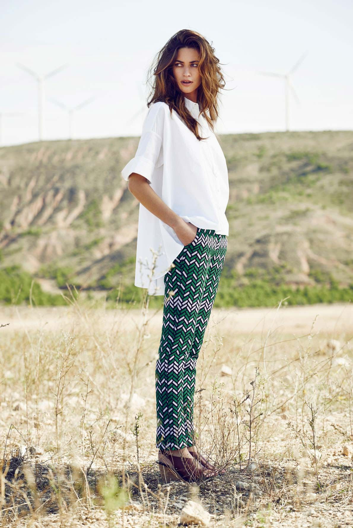 95b17e808aee9 Gerard Darel printed pants and classic white oversized shirt   Style ...