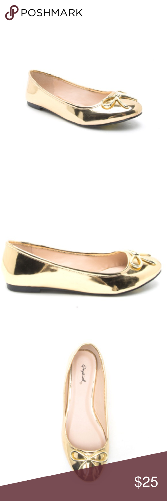 Gold Flats Retail, not re-sale. Gold flats with lace. All man made materials. Qupid Shoes Flats & Loafers