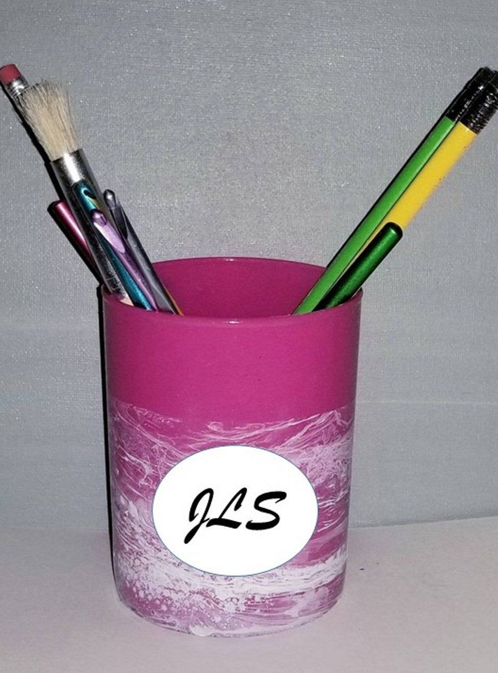 Pink Desk Accessory/ Personalized Pencil Holder/Makeup