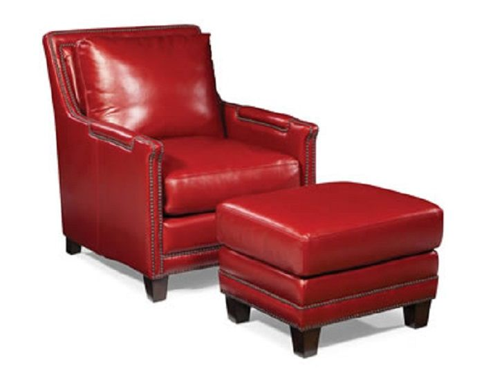 Red Leather Club Chair And Ottoman Exceptional Quality And Comfort