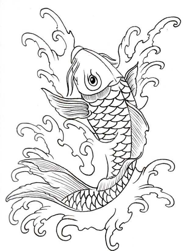 Japanese Tattoo Line Drawing : Koi outline by vikingtattoo on deviantart rug