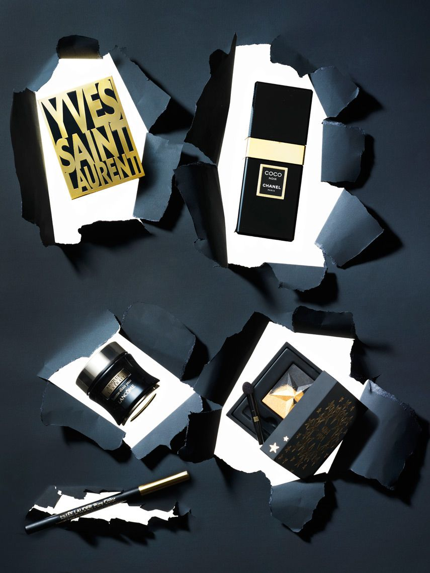 Beauty Werf in JAN Magazine Photography by Frank Brandwijk I 'Torn Paper' 'Cuttings' 'Black & Gold Make Up' 'Photography Stilllife Beauty Product, Makeup & Cosmetics'