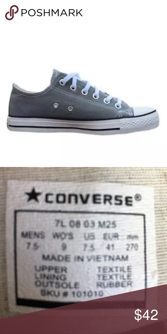 35827b5421c2 🆕List! Gray Converse All-Star Sneakers! NEW! Gray Converse low-tops.  Unisex. Women s size 9