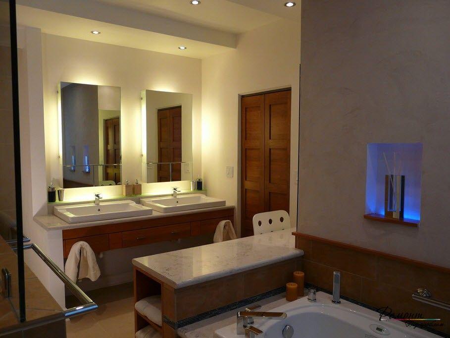 Освещение и подсветка в ванной комнате: потолок, мебель ...