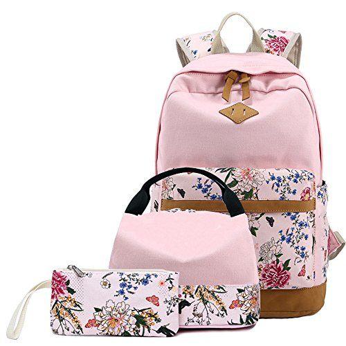 905d92a8a487 BLUBOON Backpack for School Girls Teens Bookbags Set Women Laptop Bag +  Lunch Bag + Pencil Case Clutch Purse (Pink – Floral 01)