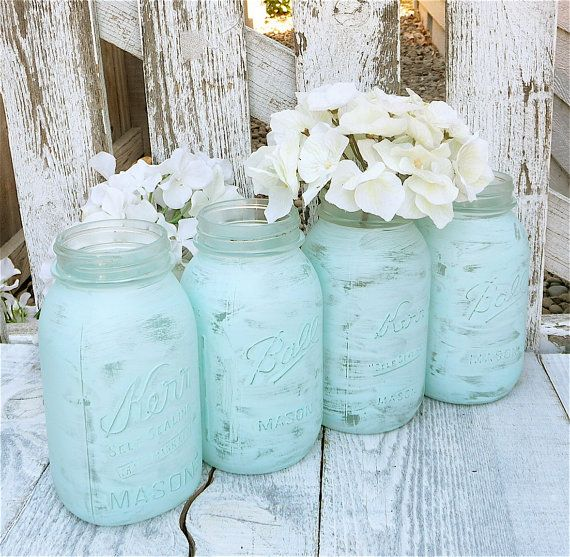 Blue Mason Jars Wedding Ideas: Pin By Erin Kordon On Wedding Decor
