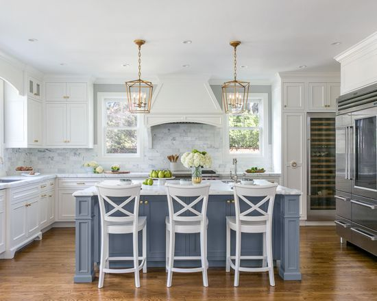 Chic Traditional Kitchen in White and Steel Blue