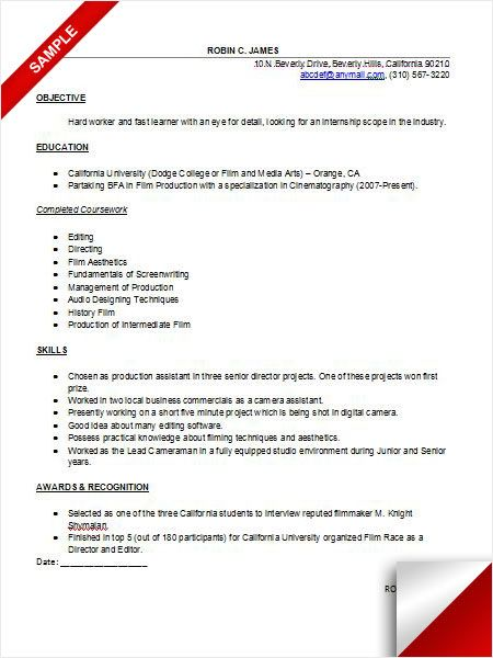 Internship Resume Sample Resume Examples Internship resume