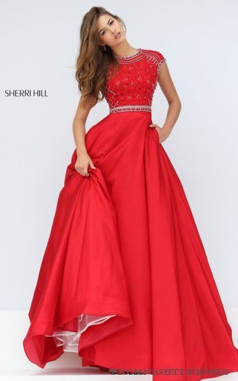 Cap Sleeve Prom Dress A Line Sherri Hill 32363 Red | Prom: Dress ...